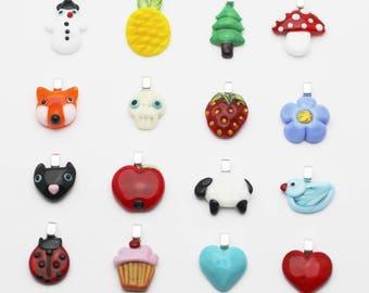 Novelty charm pendant fox, sheep, cat, pineaple, tree, mushroom, ladybug, cupcake, bird, heart
