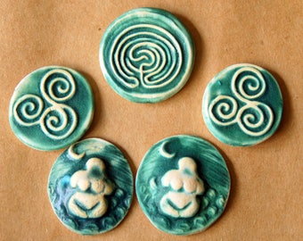 5 Ceramic Mosaic Tiles - Goddess and Celtic Cabochones - Handmade Ceramic Labyrinth Triskele and Earth Mother to wrap or Embellish