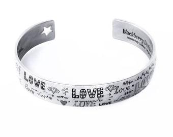 Engraved Cuff Bracelet, Valentines Bracelet, Ladies Love Bracelet in stainless steel