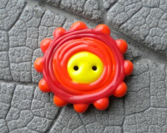 Multi Color Two Hole BUTTON Lampwork Beads by Cherie Sra R114 Flamedworked Glass Button Orange Blue Red Turquoise Silver Glass Dot Button