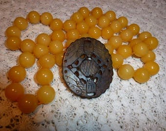 Long Strand of Knotted Round Soocho Jade Beads in Golden Yellow with Serpentine Jade Pendant, Use Together or Separate, Jewelry Making