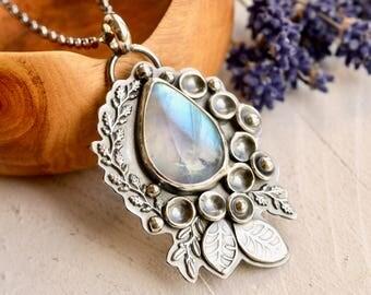 Silver Botanical Necklace, Rainbow Moonstone Pendant, Botanical Necklace, Artisan Metalwork, Modern Artisan Jewelry, Art Necklace