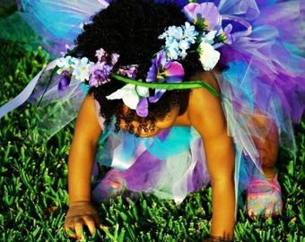 SUMMER SALE 20% OFF Wildflower, a garden pixie - includes custom sewn tutu and handmade fairy wings