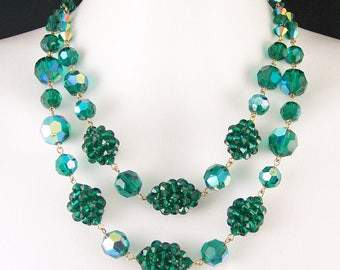 Vintage Green Glass Crystal Necklace