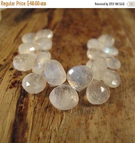 Summer SALEabration - Rainbow Moonstone Beads, 4 Inch Strand of Heart Shaped Briolettes, Little Flashers, 9mm x 9mm Gemstones for Jewelry Ma