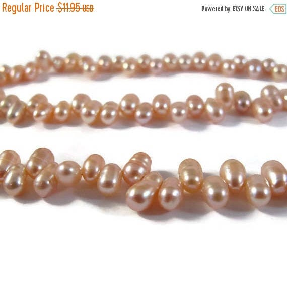Summer SALEabration - Pink Freshwater Pearl Beads, Top Drilled Dancing Pearls, 15 Inch Strand of Champagne Colored 7mm x 4mm Pearls (P-R1)