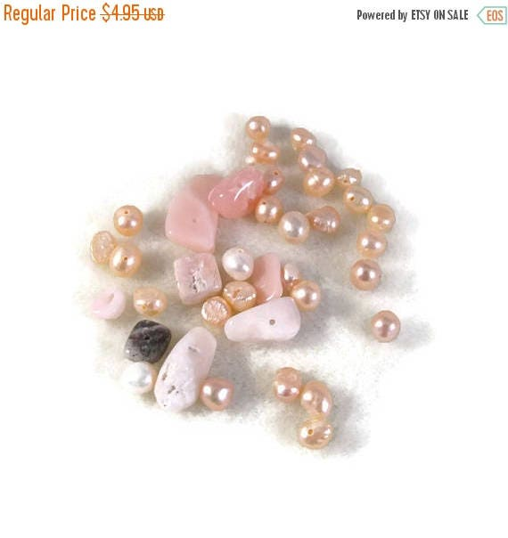 Summer SALEabration - Gemstone Bead Mix,Pink, White, Cream Gemstone Grab Bag, 37 Beads for Making Jewelry, Assorted Shapes and Sizes (L-Mix7