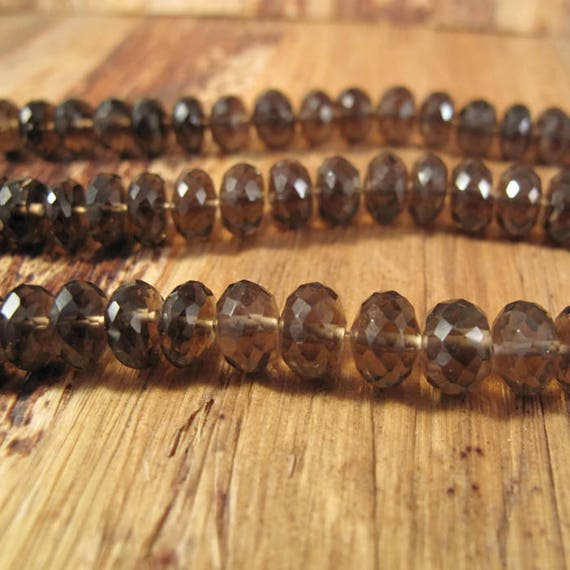 Large Smoky Quartz Beads, 7.5mm - 8mm Dark Brown Smoky Quartz Rondelles, 7 Inch Strand of Natural Gemstones for Making Jewlery (R-Sq1c)