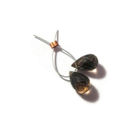 Matched Pair of Smoky Quartz Beads, Two Natural Gemstone Briolettes, 6mm x 4mm - 6.5mm x 5.5mm, 2 Stones for Making Jewelry (B-Sq6d)