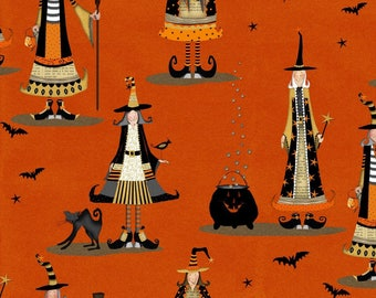 NEW from Studio E Fabrics, Witchy on orange, Wiches and cauldrons,   yard