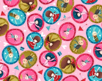 """Santoro, Kori Kumi -The Gift of Friends collection, """"Girl Medalions in Pink from Quilting Treasures, yard"""