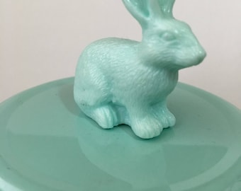 Collectible Blue Bunny Rabbit Candy Jar or Makeup Holder or Bank or Jewelry Holder or Desk Accessory
