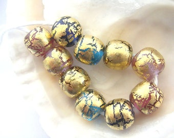 10 Golden Handmade Lampwork Beads