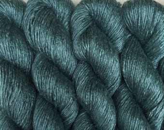 Silk Yarn Hand Dyed Worsted weight - Petrol Green