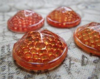 Neon Orange Painted Vintage Glass 19mm Round Reflectors 4 Pcs