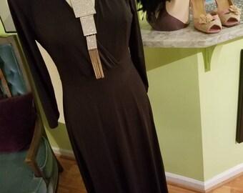 Ultra Flirty and Feminine 1970's Black Maxi Dress