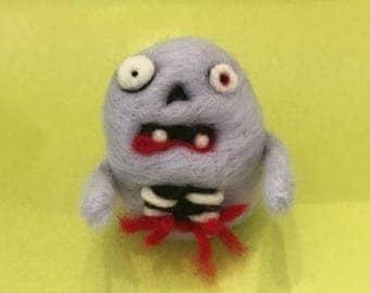Huey the needlfelted mini zombie