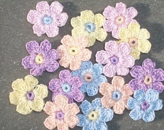 15 handmade pastel cotton thread crochet applique flowers -- 2703