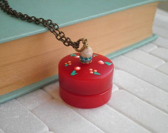 Vintage Red Bakelite Poison Locket Necklace - Tiny Floral Secret Storage Container Pendant - Hand Painted Retro Flower Jewelry Gift For Her