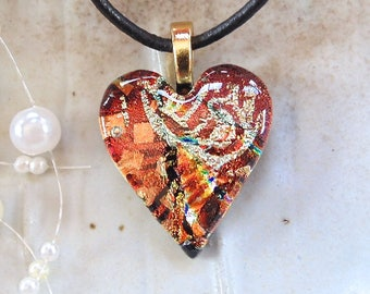 Heart Pendant, Dichroic Pendant, Glass Jewelry, Heart, Necklace, Red, Gold, Orange, Necklace Included, One of a Kind, A8