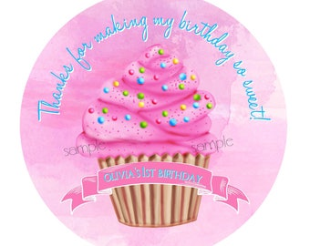 Cupcake stickers, Cupcake birthday party, pink cupcake, 1st Birthday, First Birthday, favor labels, gift stickers, cupcake party favors