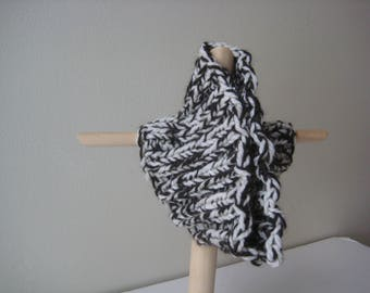 charcoal white knit cowl or headband