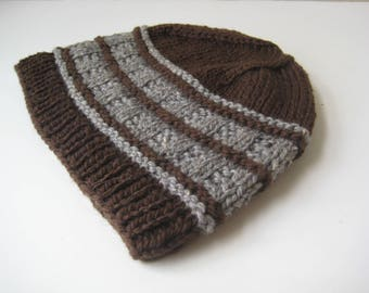 brown and gray knit hat hand knit cap