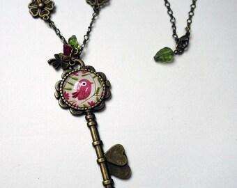 Key necklace, beautiful bird pink CCL003B
