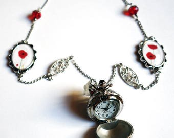 Watch ball, red poppies MON013