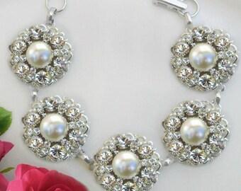 Wedding Bracelet Pearl Bridal bracelet Ivory Pearl crystal rhinestone silver wedding jewelry statement bridal bracelet