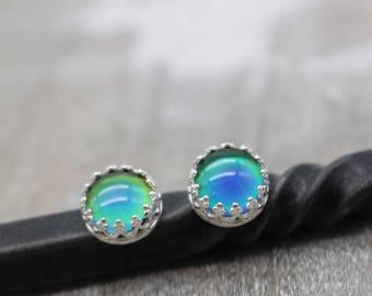 Mood Stone Sterling Silver Earrings - Mood stone jewelry - Mood ring