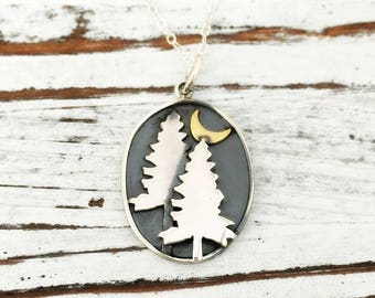 Pine Trees with Moon necklace - crescent - sterling silver jewelry - bronze - camping - hiking - mountain - night - outdoors - gift for her