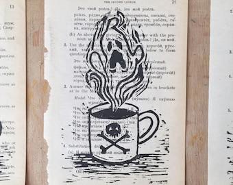 Ghost Coffee - Original Art - Lino Print