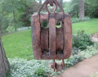 Vintage Wood/ Iron Barn Pulley - Double Pulley - Collectible Farm Equipment - Primitive Farmhouse Decor - Industrial Style