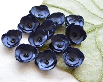 Satin fabric flowers, silk flower appliques, small satin roses, wedding flowers, bulk fabric flower embellishments (3pcs)- NAVY BLUE ROSES