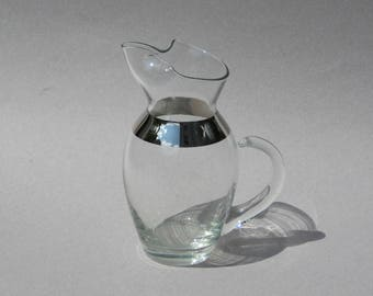 Vintage Silver Band Pitcher Dorothy Thorpe Style Mid Century Glassware Silver Rim Pitcher 6.5 Inches Tall