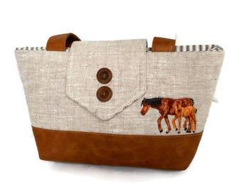 HORSES - Equestrian  - Pure Linen - Faux Leather - Vegan - Purse - Shoulder Bag