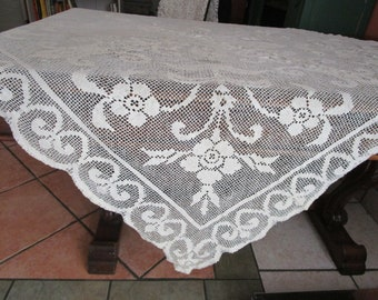 "Ecru Filet Lace Cotton Tablecloth Square 58"" Vintage 1930s Art Deco Scrolling"
