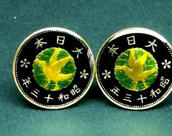1938 (昭和13年) Japan enamelled coin cufflinks  23mm
