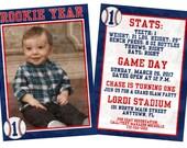 Custom Rookie of the Year Baseball Invitation 50 4x6 printed finish 2-sided
