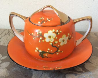 Vintage S & K Japan hand-painted orange sugar bowl with attached saucer - cherry blossoms sakura