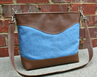 Blue Denim Bag with Faux Leather