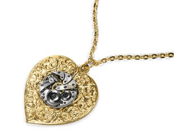 Steampunk Jewelry Necklace Vintage Watch Movement on GOLD Floral HEART, Wedding Anniversary Girlfriend Fiancee Bride - Jewelry by edmdesigns