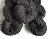 Hand-dyed yarn, Indie dyed yarn, hand dyed yarn BLACKBIRD --ready to ship--  Staten Island Ferry merino/ nylon sock yarn