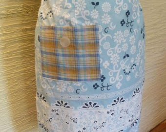 Upcycled Skirt, Blue Skirt, Handmade Skirt, Upcycled Clothing, Unique Clothing, Womens Skirt, Small, Size 5, Pocket, Blue Skirt, Flowers
