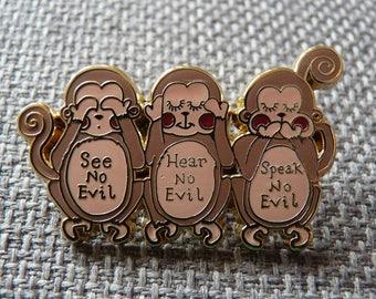 Enamel Wise Monkey Brooch