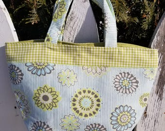 Light Blue Medallion and Green Gingham Print Purse