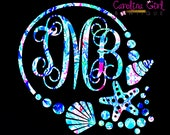 Lilly Pulitzer Inspired Shell Monogram Decal ~ Yeti Decal ~ Lilly Car Decal ~ Lilly Decal ~ Lilly Sticker