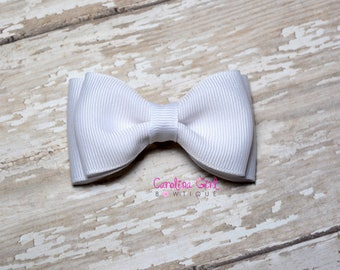 """White Stacked Hair Bow ~ 3.5"""" Hairbow ~ Small Hair Bow ~ Girls Barrette ~ Toddler Bow ~ Baby Hair Bow ~ Hair Clip ~ Girls Hair Bow"""