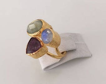 Triple Gold plated Ruby, Moonstone, Jade  ring